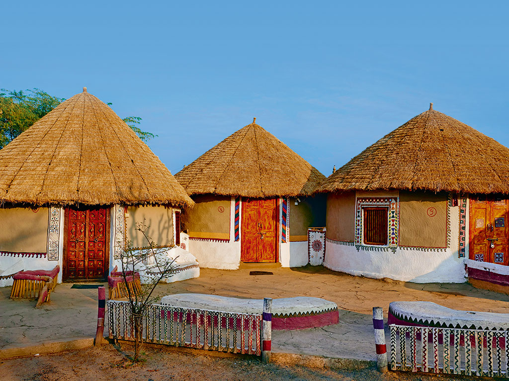 Hand-painted mud homes in Kutch, Gujarat, India