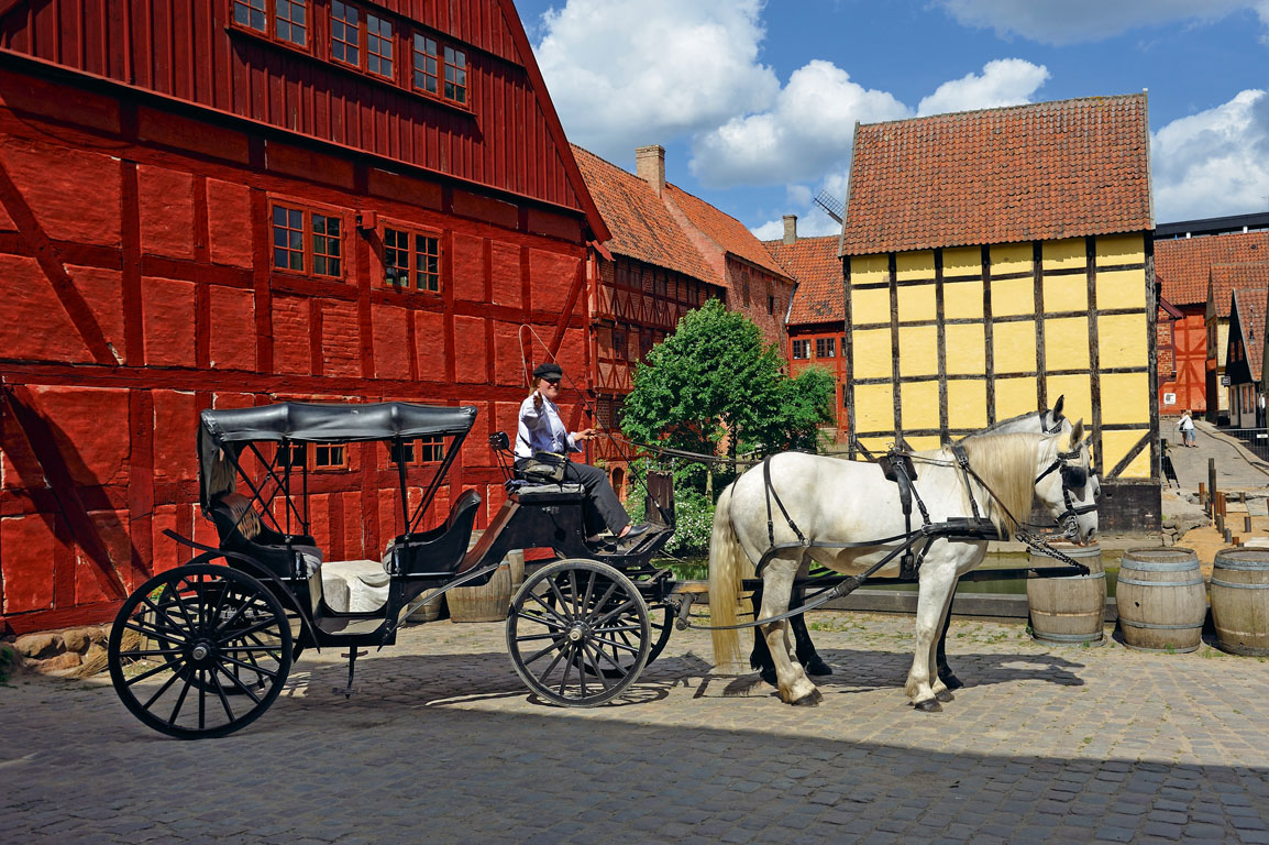 At Den Gamle By or The Old Town, you can ride a horse-drawn carriage and see buildings from the 16th century. Photo by: Christian Goupi/ Age Fotostock/ Dinodia Photo Library