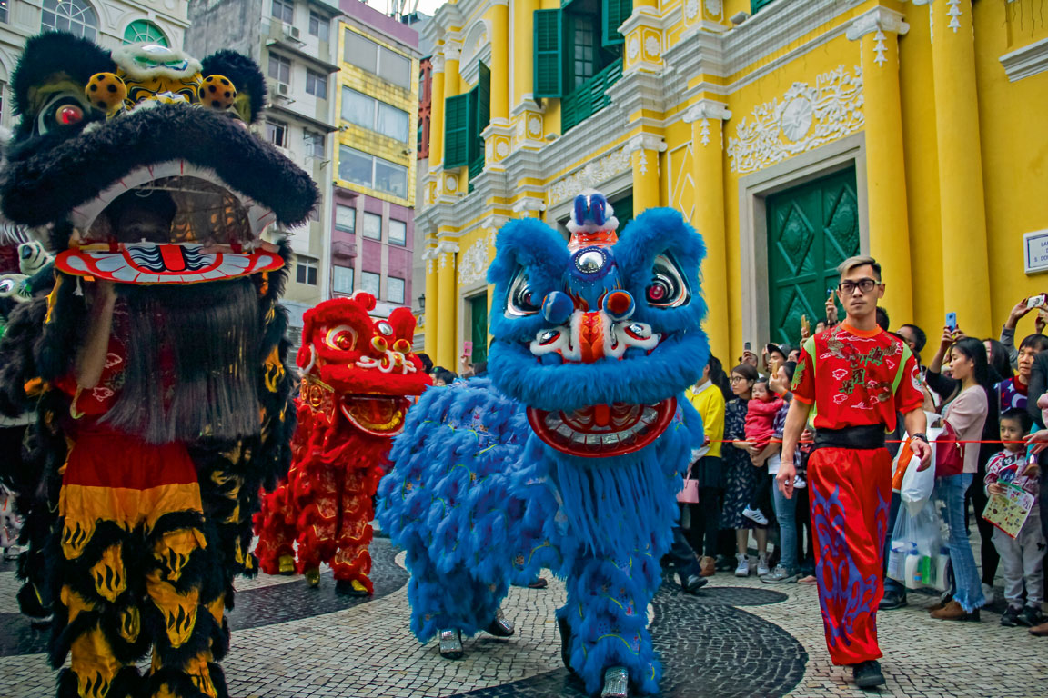 Lion man in Latin City Parade in Macao
