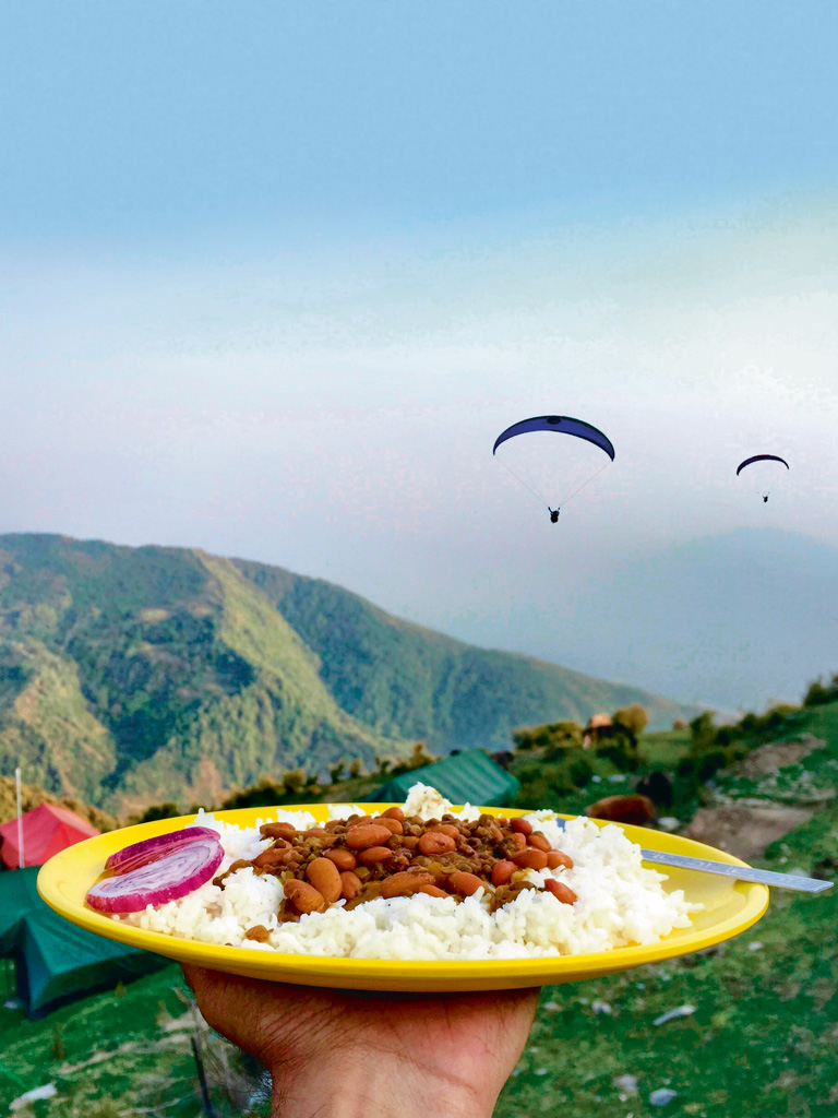 Rajma Chawal, Kangra Valley. yellow plate