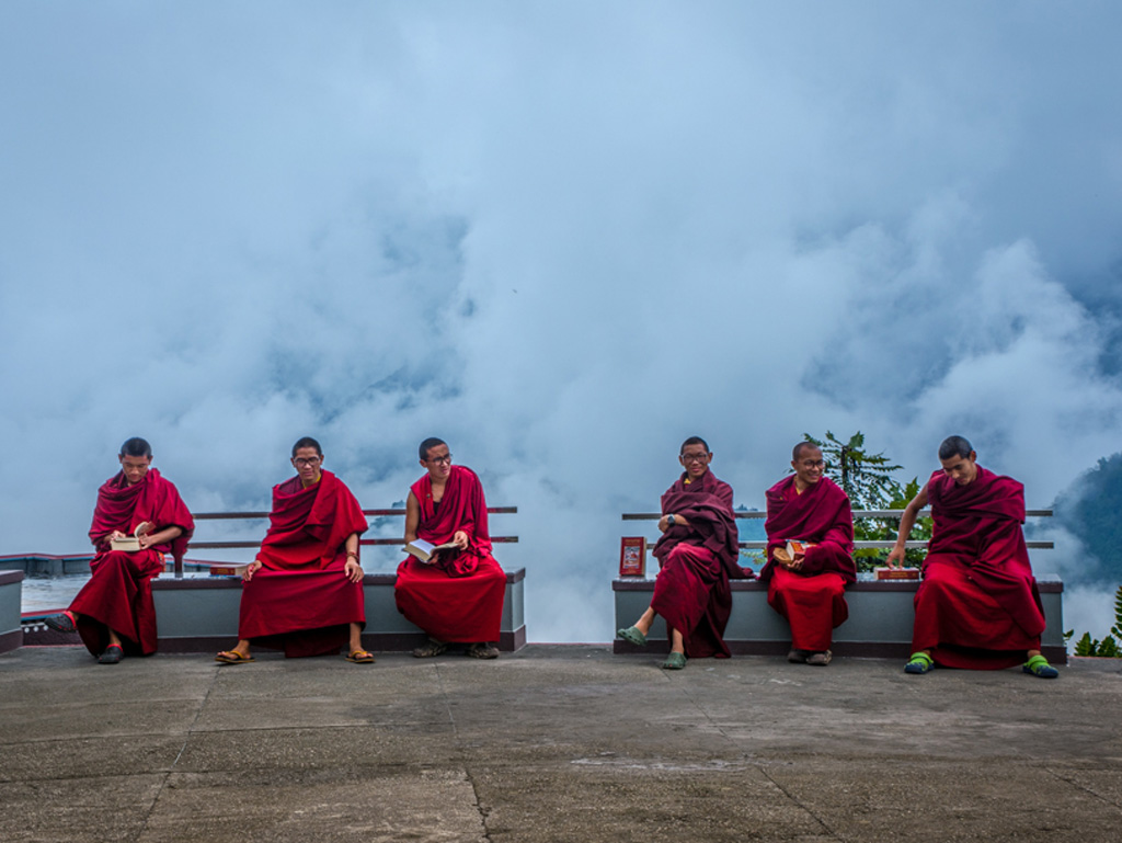 There's no better place to have a good time than sitting in between swirling mists. This picture is clicked in Lava Monastery, West Bengal.