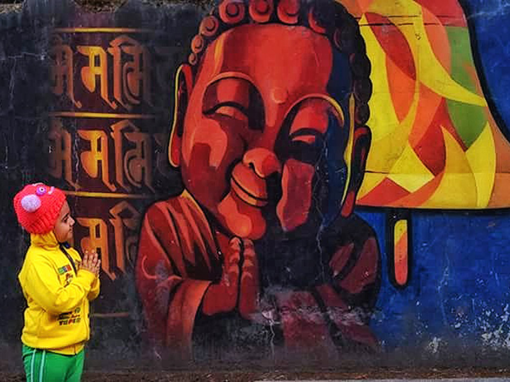 """Namaste,"" said one toddler to the other. The photo was clicked in Gangtok, Sikkim."
