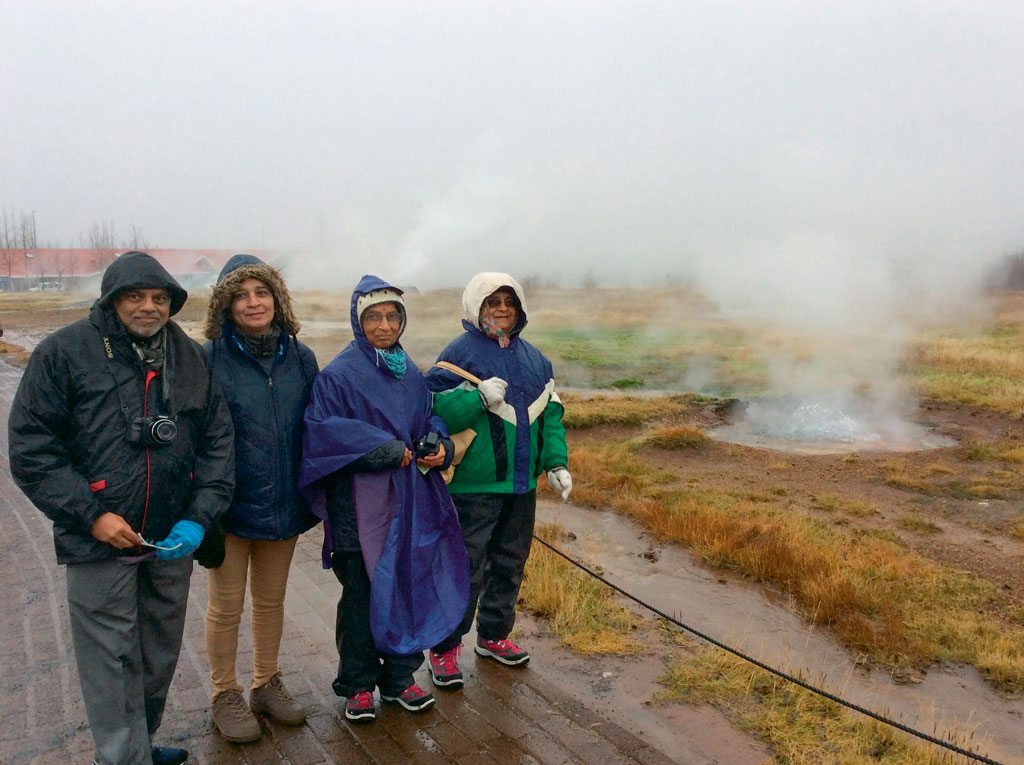 Murty (extreme right) mostly travels solo or with her sister Sunanda Kulkarni (second from right). Here the siblings can be seen braving Icelandic cold. Photo courtesy: Sudha Murty