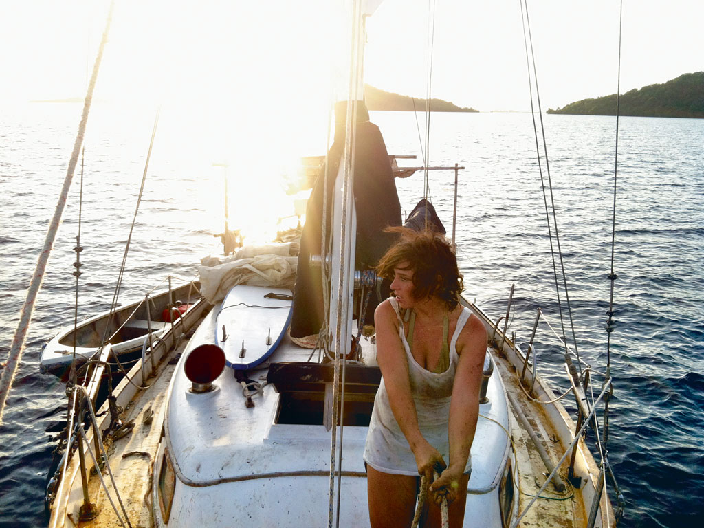 Emily Richmond, aboard Bobbie, the boat on which she sailed around the world for five years.  Photo Courtesy: Emily Richmond