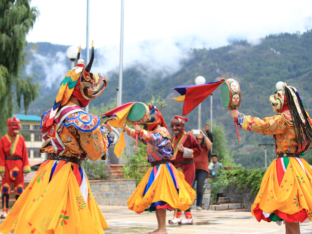 A masked dance performance by the students of the Royal Academy of Performing Arts at the Mountain Echoes Literary Festival 2016.  Photo Courtesy: Bhuwan Kafley, Mountain Echoes Lit Fest