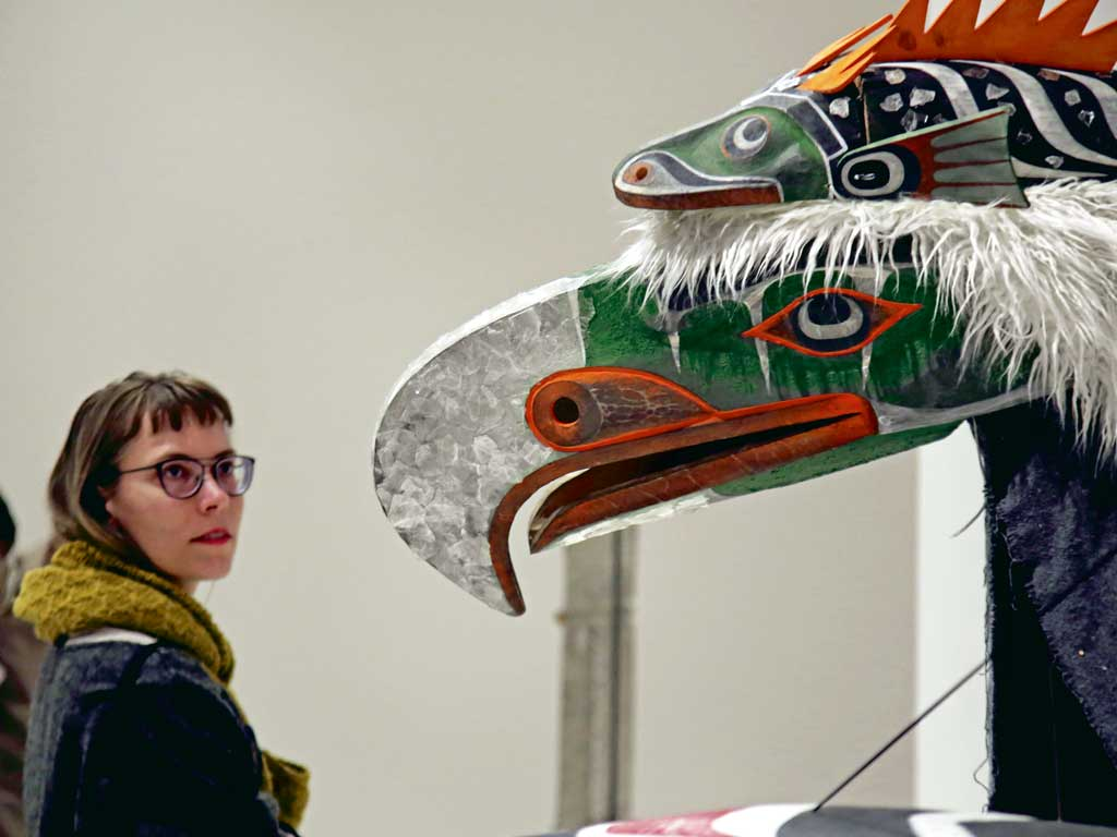 Canadian artist Beau Dick's masks on display in Athens, are on ode to the rich and layered indigenous art of British Columbia. Photo by NurPhoto /Contributor/Getty Images.