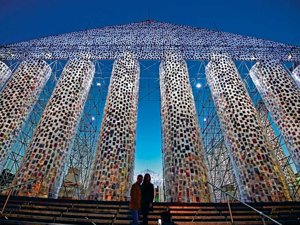 Argentinian artist Marta Minujin's emotive protest against censorship is the colossal Parthenon of Books located at the centre of Friedrichsplatz, Kassel, the site were the Nazis burnt books. Photo by Thomas Lohnes/Stringer/Getty Images.