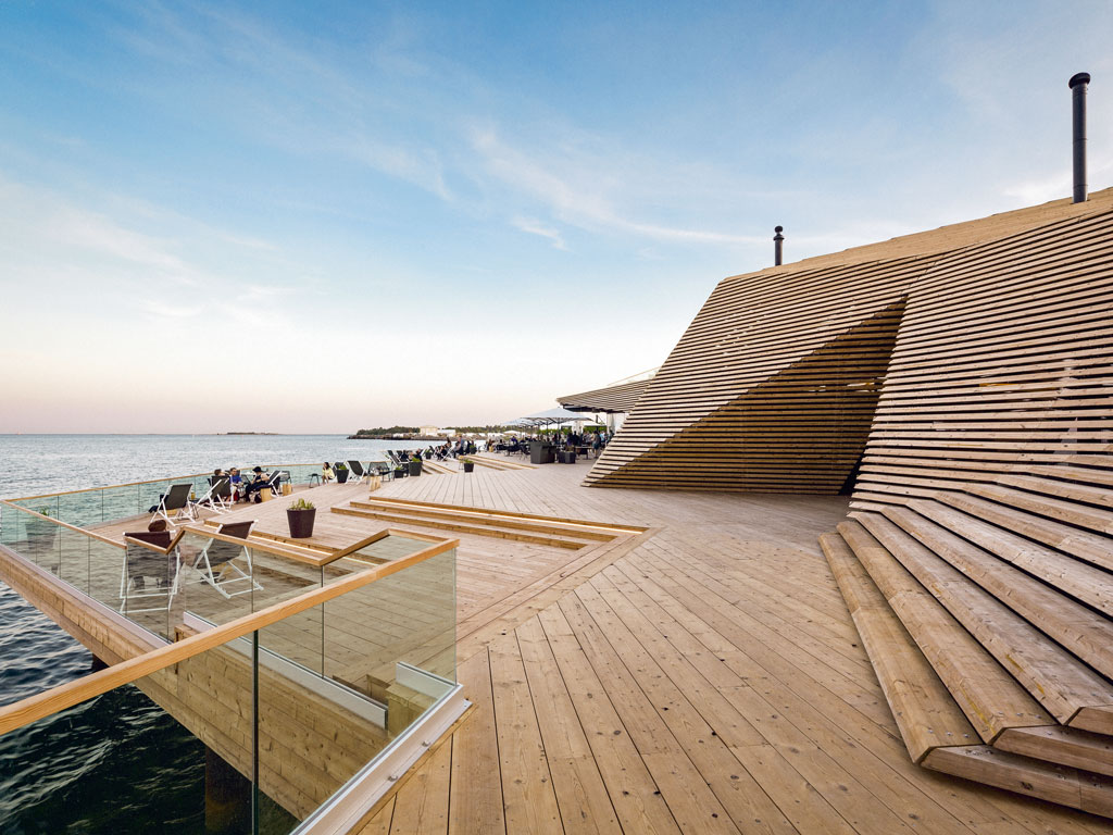 Helsinki's year-old sauna complex, Löyly, has expansive sea-view terraces and a restaurant. Photo by: Sof A Ruzo