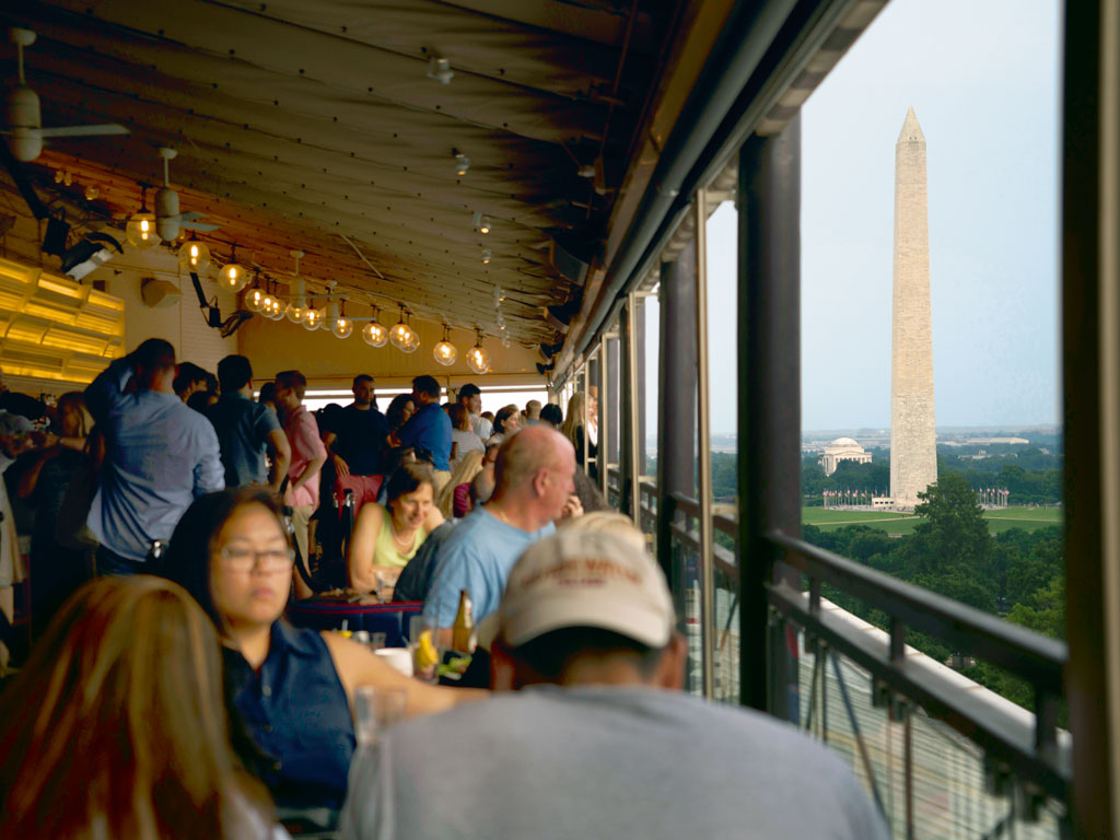 From POV, the W. Hotel's rooftop bar and restaurant, guests are treated to an unhindered view of the Washington Monument and the White House.