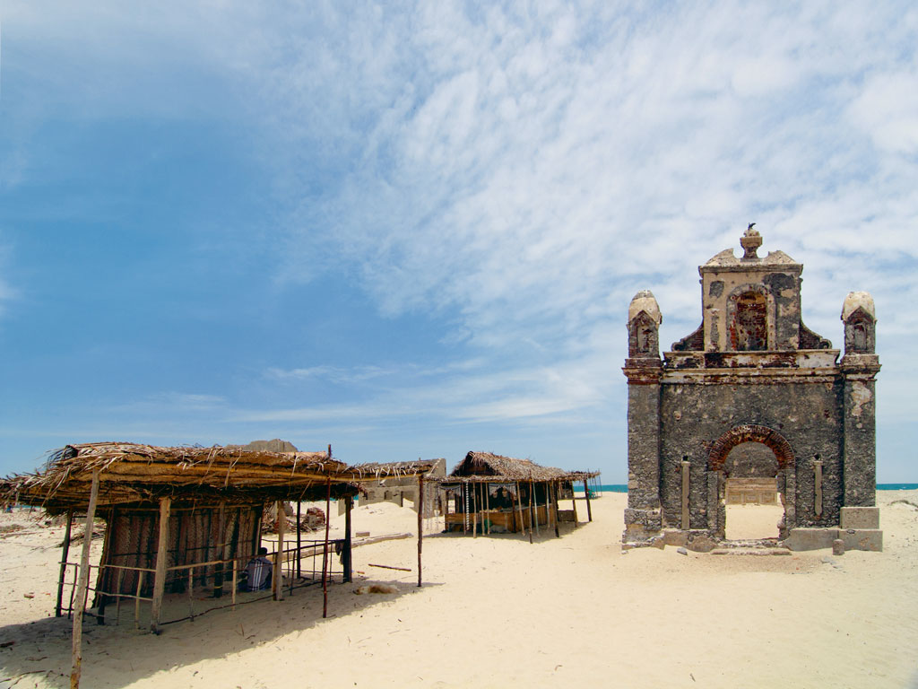 All that's left of Dhanushkodi today are its skeletal remains, like the ruins of this church. Photograph by: James Adaickalasamy/Getty Images