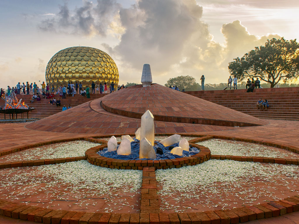 Matrimandir, a place for yoga and meditation, is the heart of Auroville. Photo by: Saumya Sumitra Behera/Moment/Getty Images