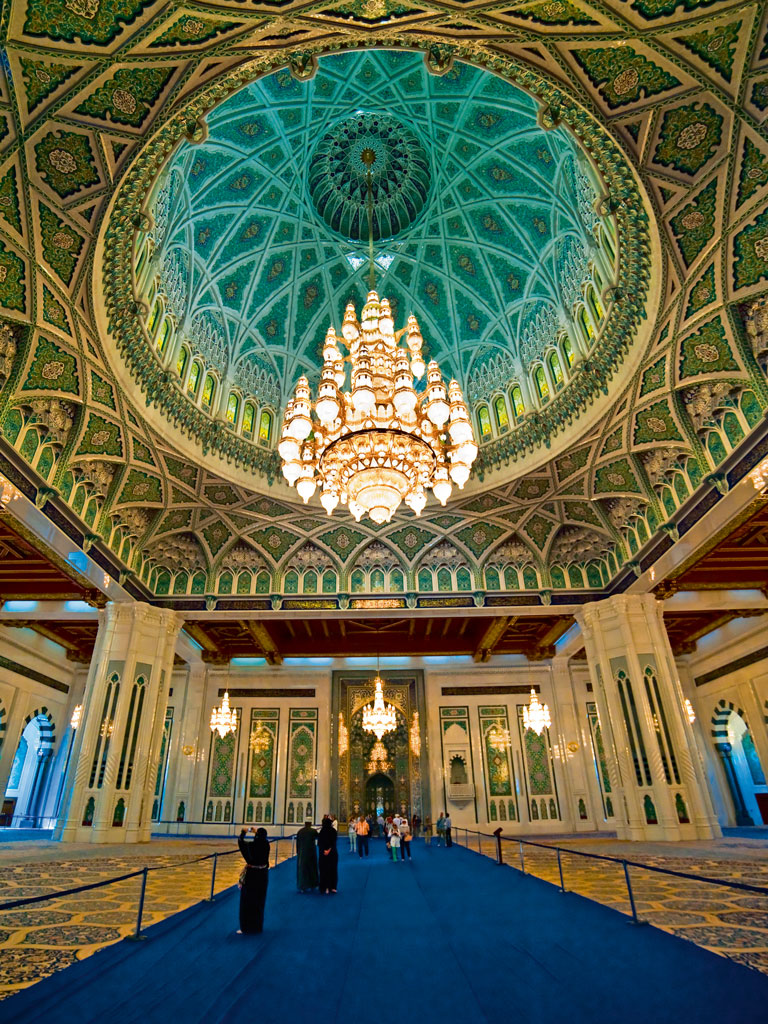 The Sultan Qaboos Grand Mosque is a beautiful ode to Islamic architecture. Photo by: Marc Guitard/Moment Unreleased/Getty Images