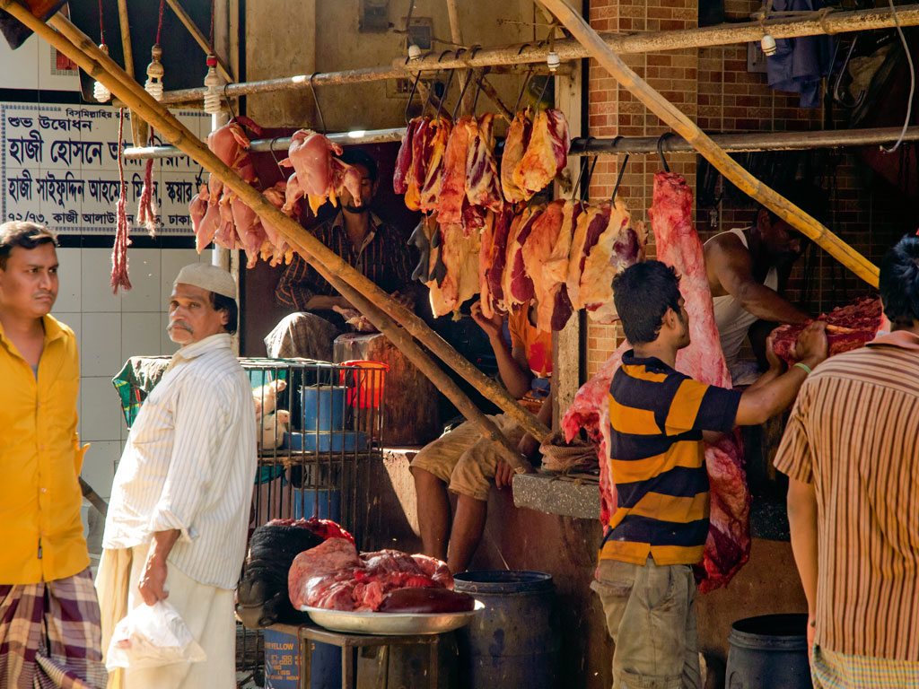 Weekends also mark a busy time outside the butcher shops in Thatari Bazaar.