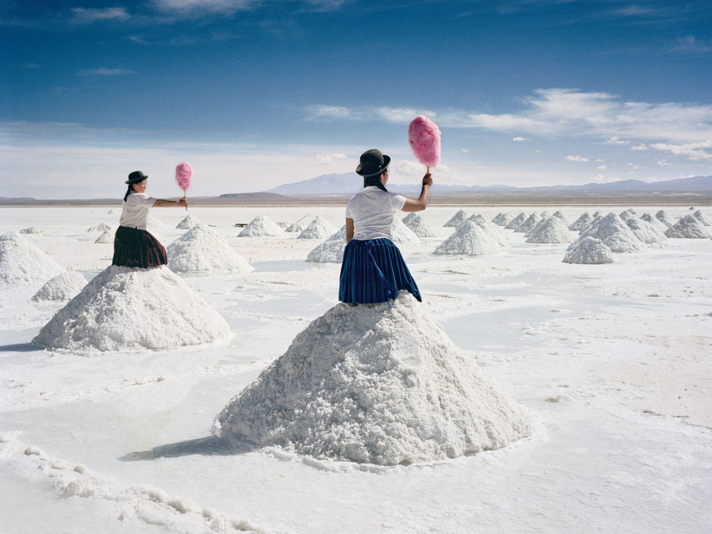 This whimsical shot of Bolivia's salt flat was created by Dutch artist Scarlett Hooft Graafland. Read on for sweet secrets on iconic places like this.  Photo courtesy: Scarlett Hooft Graafland