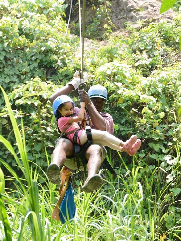 Zip lining across Cangrejal is a popular tourist activity. Photo Courtesy: Mirabelle D'Cunha