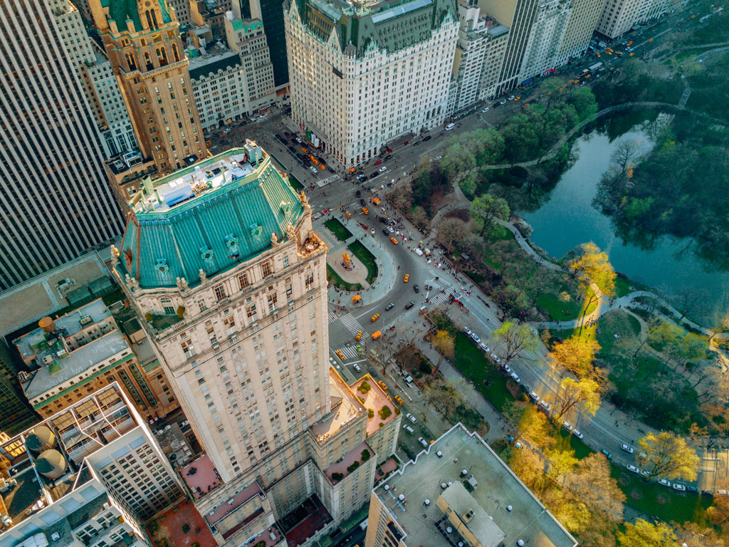 An aerial view of the Pierre, outside whose entrance the Indian tricolour flutters alongside the American flag. Photo courtesy: The Pierre, New York