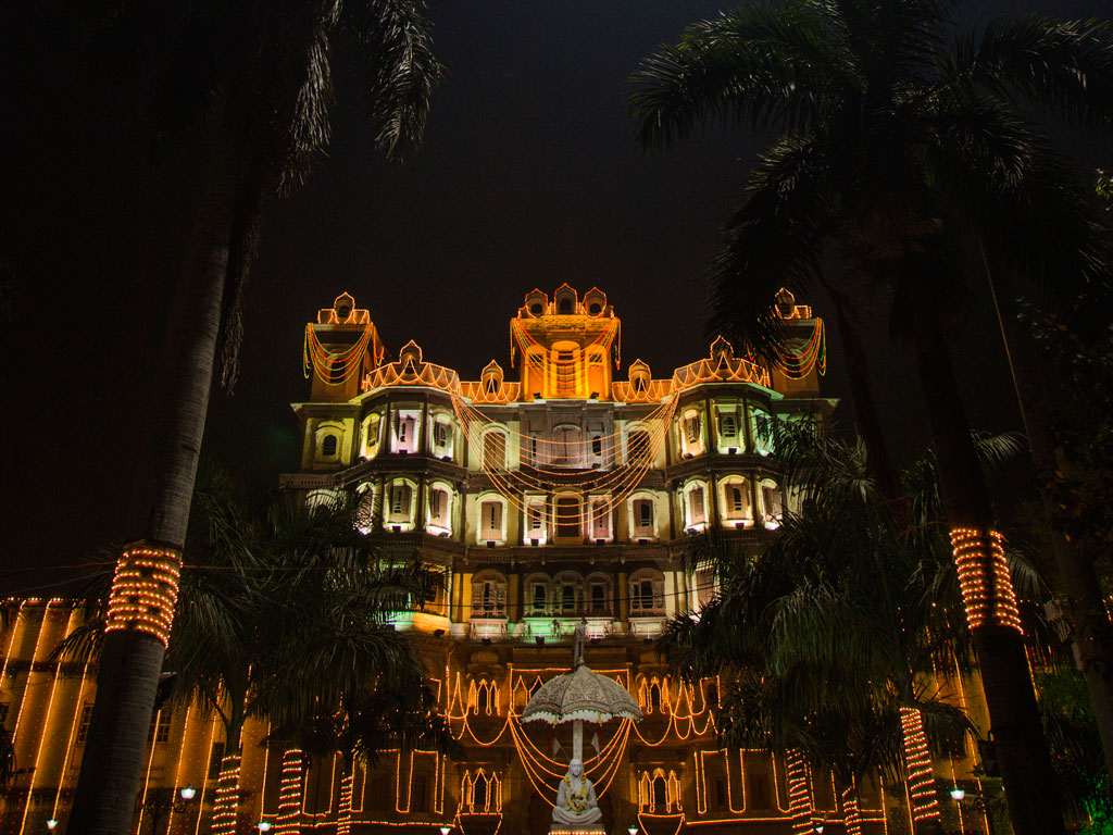 The Rajwada Palace in Indore is resplendent at night, especially when its decked up for festivals.
