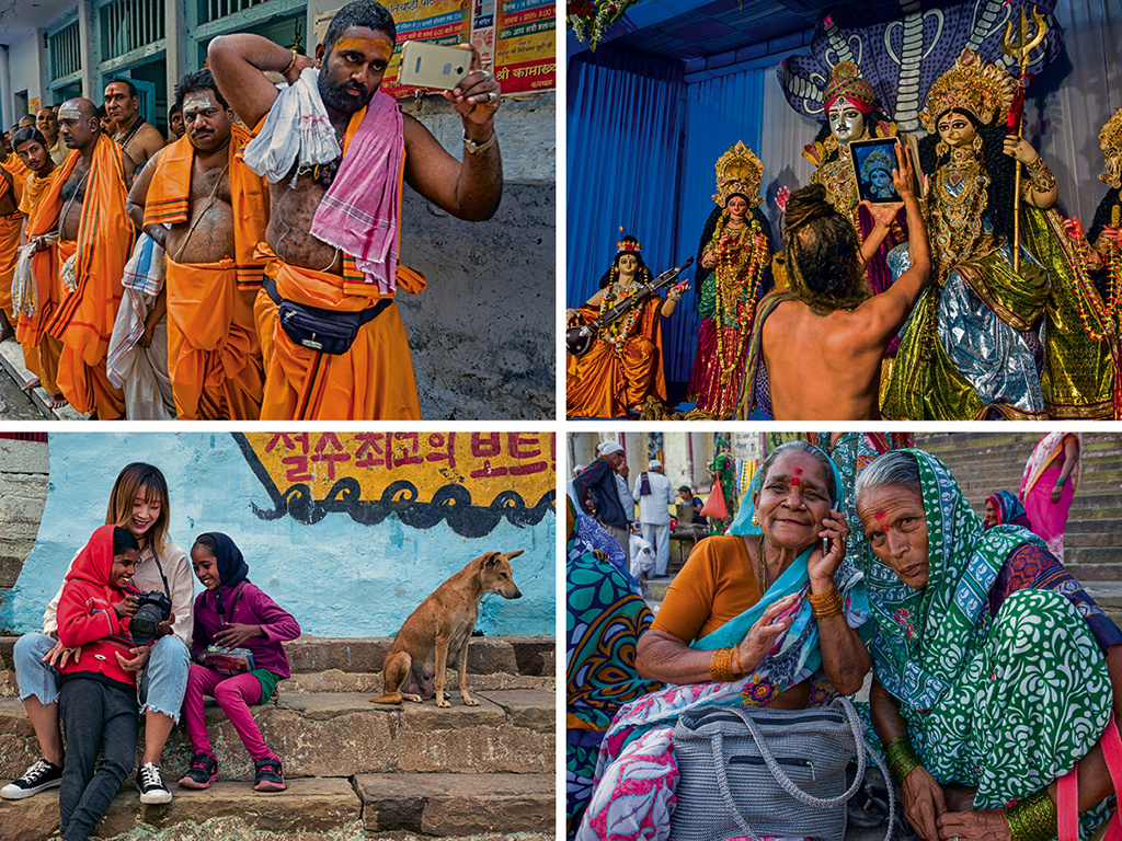 When it comes to tech, Varanasi is in on it: Priests snap selfies (top left) and capture Durga puja festivities on iPads (top right); a Korean tourist (bottom left) bonds with kids over photos she has clicked, and pilgrims, young and old, catch up with families in far off villages (bottom right).