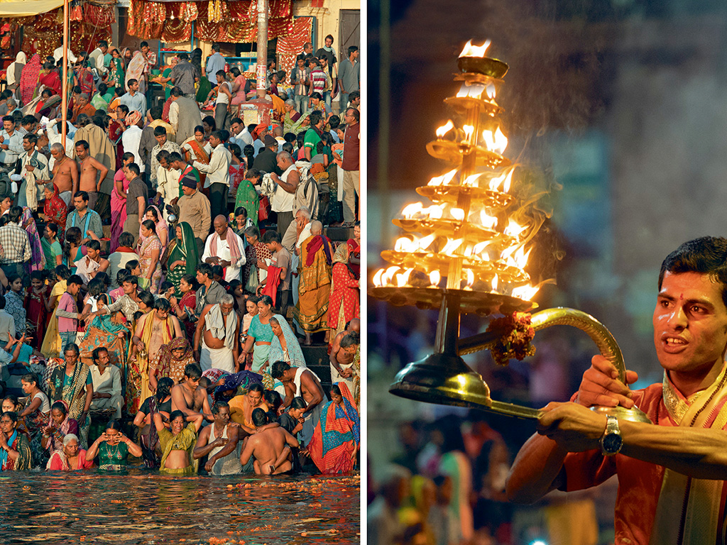Every morning devotees offer sun salutations by queuing up to bathe in the Ganga (left); In the evening, priests deck up for the Ganga Aarti, a spiritual extravaganza where they break into synchronised choreography holding oil lamps (right).