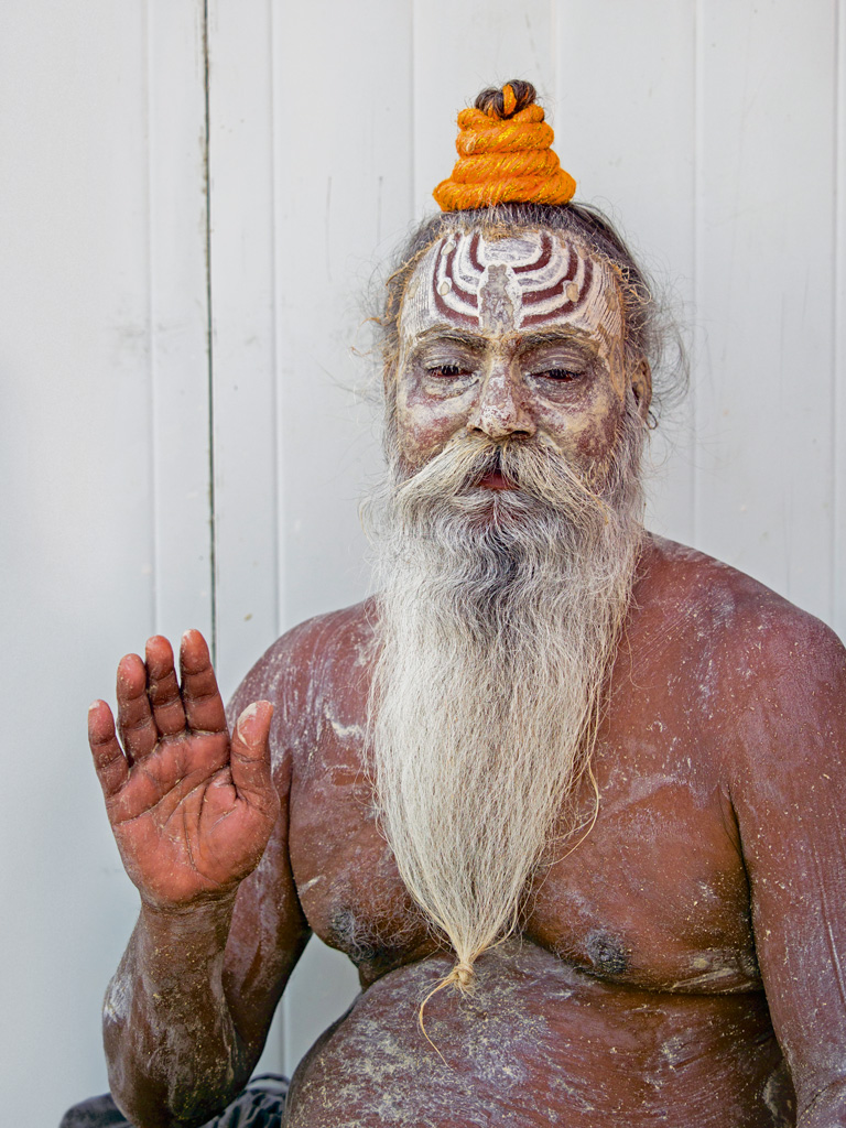 "This sadhu never begs for alms but has ""fans"" who voluntarily offer him food and money."