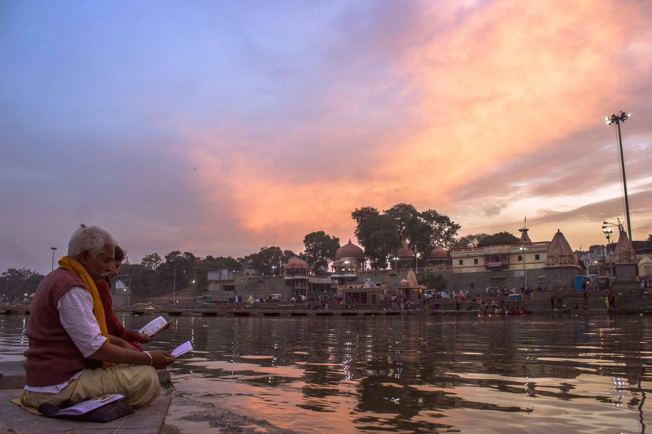 It's never a surprise to find devotees already reading prayers at sunrise in Ram Ghat, Ujjain.