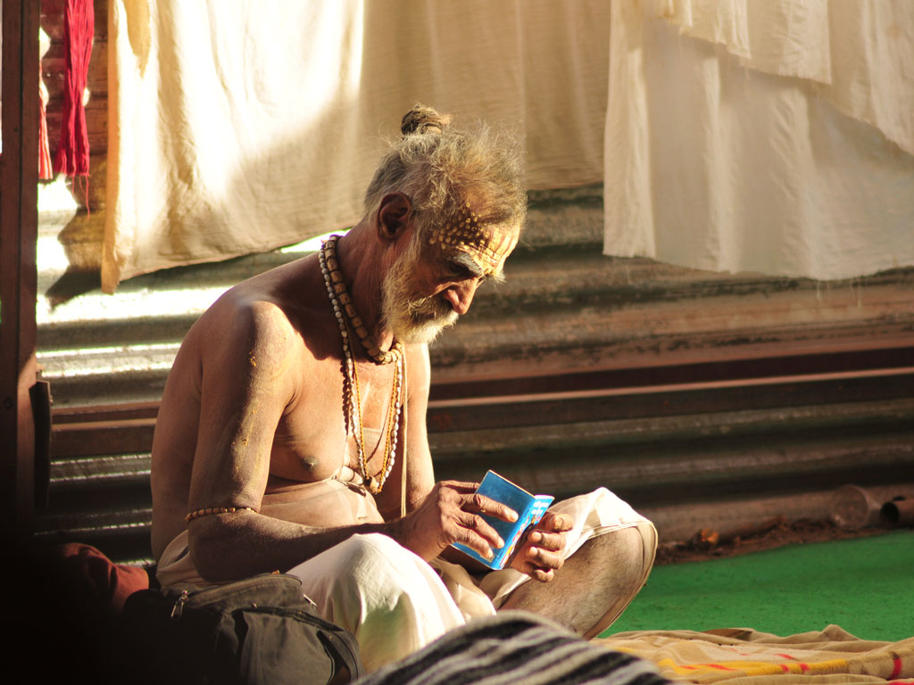 The sadhu has managed to find some calm in the chaos of Simhasth Kumbh Mahaparv in Ujjain in 2016.
