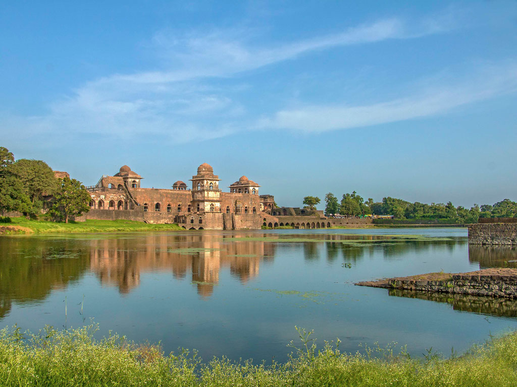 The Jahaz Mahal in Mandu is aptly captured, with its reflection in the water.
