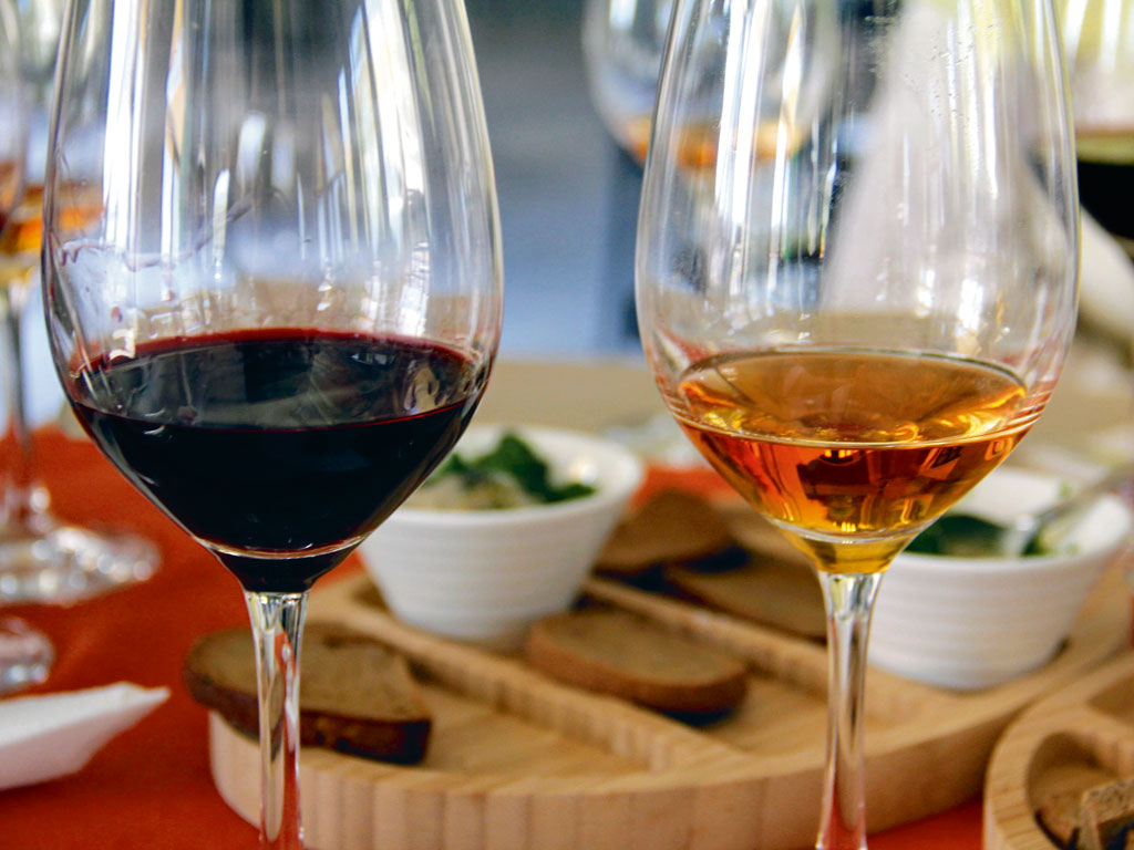 Georgian white wines allowed to ferment longer are amber coloured. Photo by: Kalpana Sunder