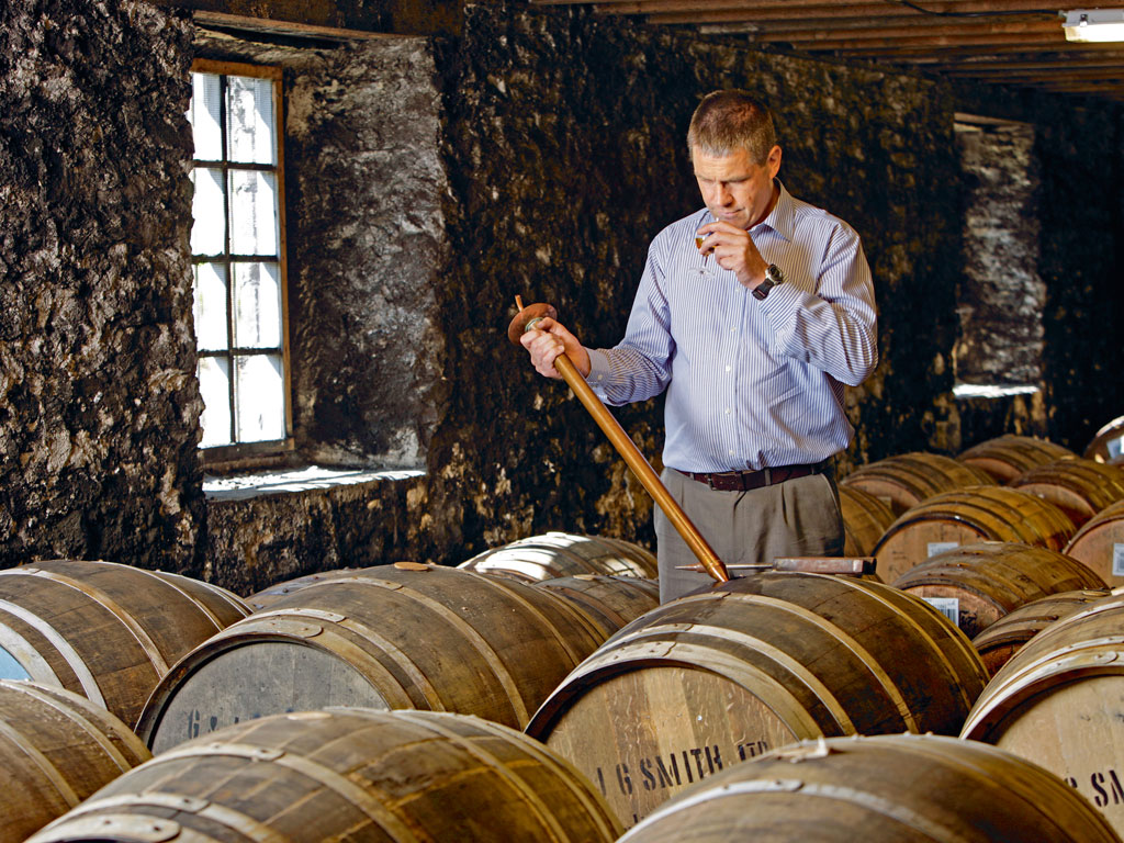 The oak casks highly influence the flavour of whiskies, and hence Glenlivet master distiller, Alan Winchester does regular taste tests of the distillery's single malts. Photo courtesy: The Glenlivet Distillery